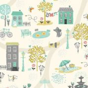 A Walk in The Park by Makower UK - 6453 - Town Park Scene on Cream - 2141_Q - Cotton Fabric